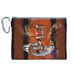 Microphone With Piano And Floral Elements Canvas Cosmetic Bag (XL)