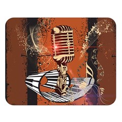 Microphone With Piano And Floral Elements Double Sided Flano Blanket (Large)