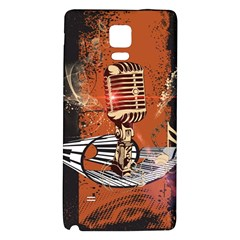 Microphone With Piano And Floral Elements Galaxy Note 4 Back Case