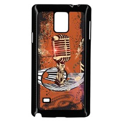 Microphone With Piano And Floral Elements Samsung Galaxy Note 4 Case (Black)