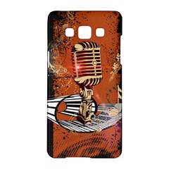 Microphone With Piano And Floral Elements Samsung Galaxy A5 Hardshell Case