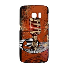 Microphone With Piano And Floral Elements Galaxy S6 Edge