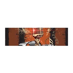 Microphone With Piano And Floral Elements Satin Scarf (oblong)