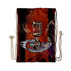 Microphone With Piano And Floral Elements Drawstring Bag (Small)