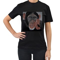 The Thinker Women s T Shirt (black) (two Sided)