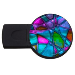 Imposant Abstract Teal USB Flash Drive Round (2 GB)