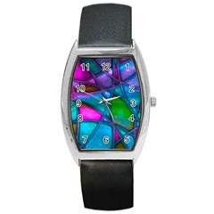 Imposant Abstract Teal Barrel Metal Watches