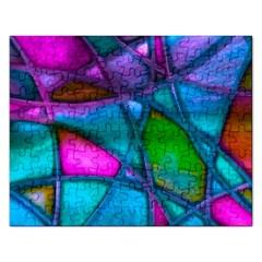 Imposant Abstract Teal Rectangular Jigsaw Puzzl