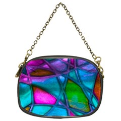 Imposant Abstract Teal Chain Purses (One Side)