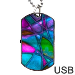 Imposant Abstract Teal Dog Tag Usb Flash (one Side)