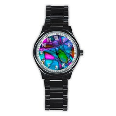 Imposant Abstract Teal Stainless Steel Round Watches