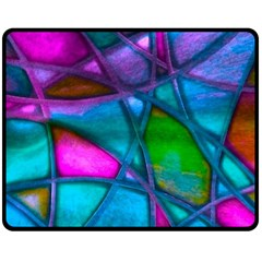 Imposant Abstract Teal Double Sided Fleece Blanket (medium)