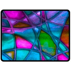 Imposant Abstract Teal Double Sided Fleece Blanket (large)