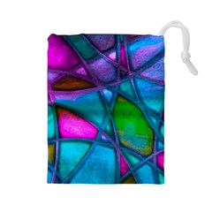 Imposant Abstract Teal Drawstring Pouches (Large)