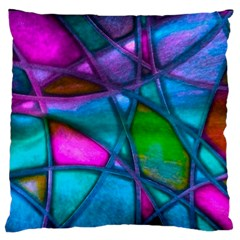 Imposant Abstract Teal Standard Flano Cushion Cases (One Side)