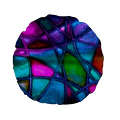 Imposant Abstract Teal Standard 15  Premium Flano Round Cushions