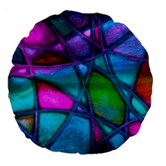 Imposant Abstract Teal Large 18  Premium Flano Round Cushions