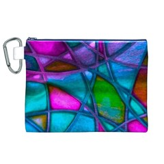 Imposant Abstract Teal Canvas Cosmetic Bag (XL)