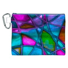 Imposant Abstract Teal Canvas Cosmetic Bag (XXL)