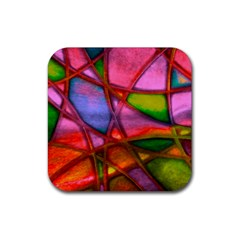 Imposant Abstract Red Rubber Coaster (Square)