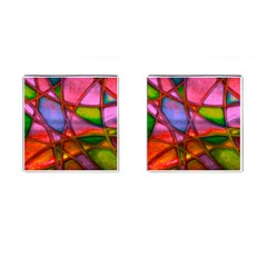 Imposant Abstract Red Cufflinks (Square)