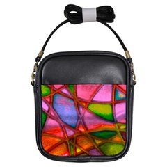 Imposant Abstract Red Girls Sling Bags