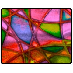 Imposant Abstract Red Fleece Blanket (Medium)