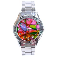 Imposant Abstract Red Stainless Steel Men s Watch