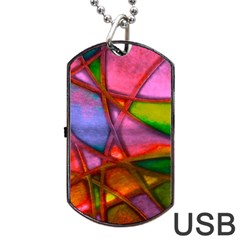 Imposant Abstract Red Dog Tag Usb Flash (one Side)