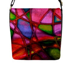 Imposant Abstract Red Flap Messenger Bag (L)