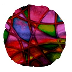 Imposant Abstract Red Large 18  Premium Flano Round Cushions