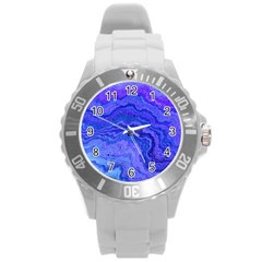 Keep Calm Blue Round Plastic Sport Watch (L)