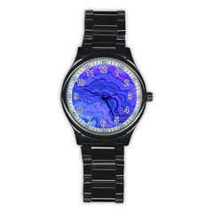 Keep Calm Blue Stainless Steel Round Watches