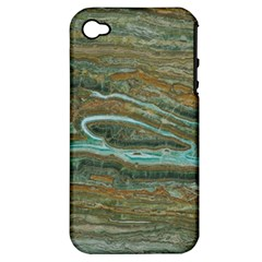 brown And green Marble Stone Print Apple iPhone 4/4S Hardshell Case (PC+Silicone)