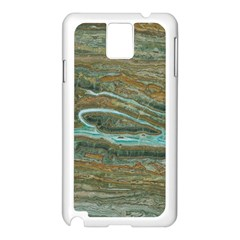 brown And green Marble Stone Print Samsung Galaxy Note 3 N9005 Case (White)