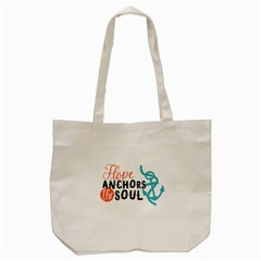 Hope Anchors The Soul Nautical Quote Tote Bag (Cream)