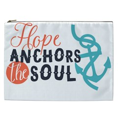 Hope Anchors The Soul Nautical Quote Cosmetic Bag (XXL)