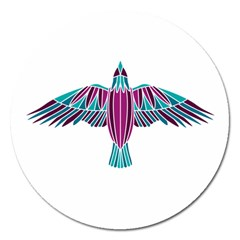 Stained Glass Bird Illustration  Magnet 5  (Round)
