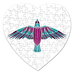Stained Glass Bird Illustration  Jigsaw Puzzle (Heart)