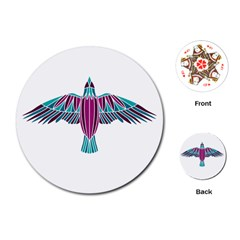 Stained Glass Bird Illustration  Playing Cards (round)