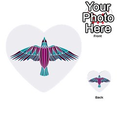 Stained Glass Bird Illustration  Multi Purpose Cards (heart)