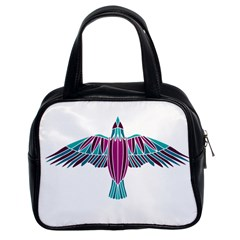 Stained Glass Bird Illustration  Classic Handbags (2 Sides)