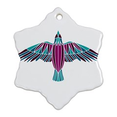 Stained Glass Bird Illustration  Snowflake Ornament (2-Side)