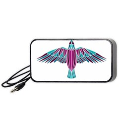 Stained Glass Bird Illustration  Portable Speaker (black)