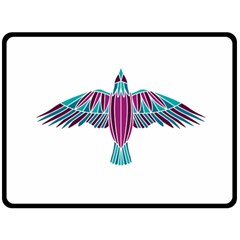 Stained Glass Bird Illustration  Double Sided Fleece Blanket (Large)