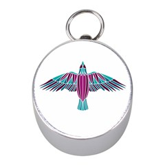 Stained Glass Bird Illustration  Mini Silver Compasses
