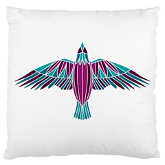 Stained Glass Bird Illustration  Large Flano Cushion Cases (two Sides)