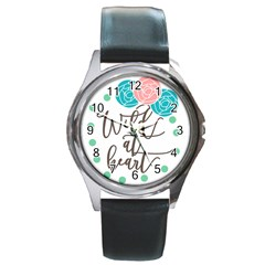 Wild At Heart Flowers Round Metal Watches