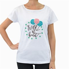 Wild At Heart Flowers Women s Loose-Fit T-Shirt (White)