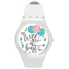 Wild At Heart Flowers Round Plastic Sport Watch (M)